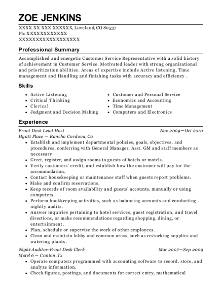 Front Desk Lead Host resume example Colorado