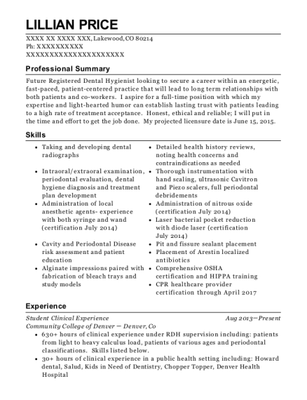 Student Clinical Experience resume format Colorado