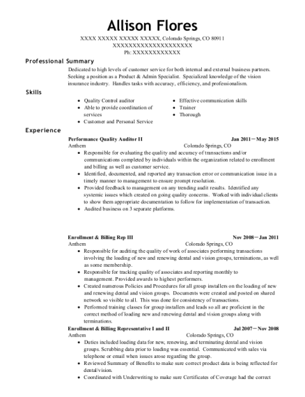 Performance Quality Auditor II resume format Colorado