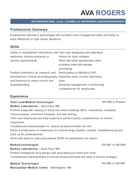 Team Lead Medical Technologist resume template Colorado