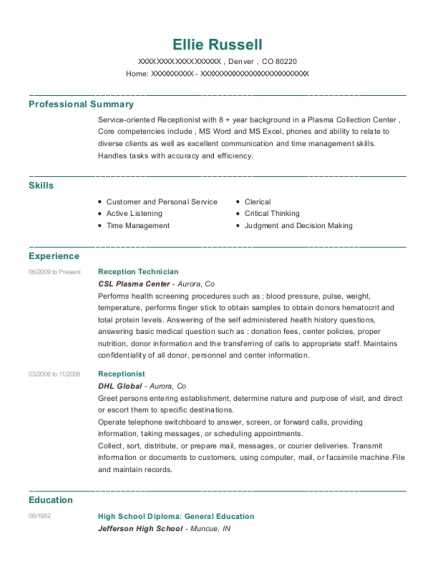 Csl Plasma Center Reception Technician Resume Sample - Denver
