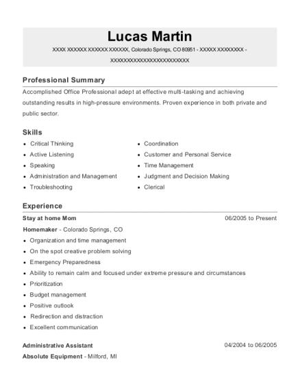 Stay at home Mom resume template Colorado
