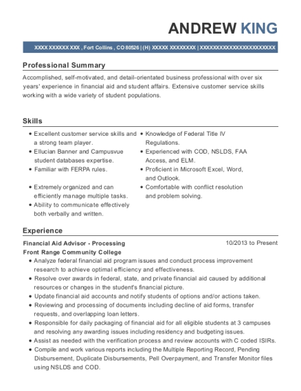 Financial Aid Advisor Processing resume example Colorado