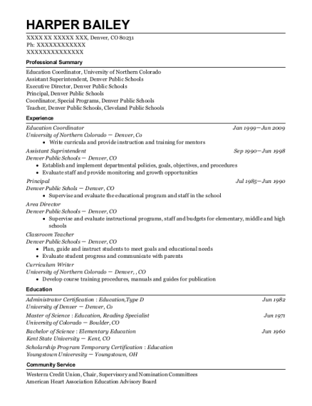 Education Coordinator resume example Colorado