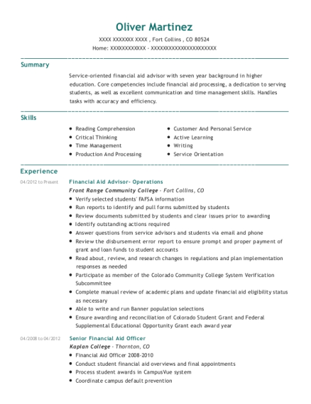 Financial Aid Advisor Operations resume sample Colorado