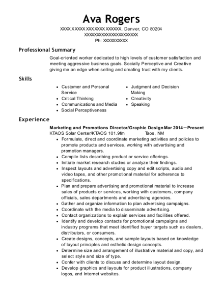 Marketing and Promotions Director resume template Colorado