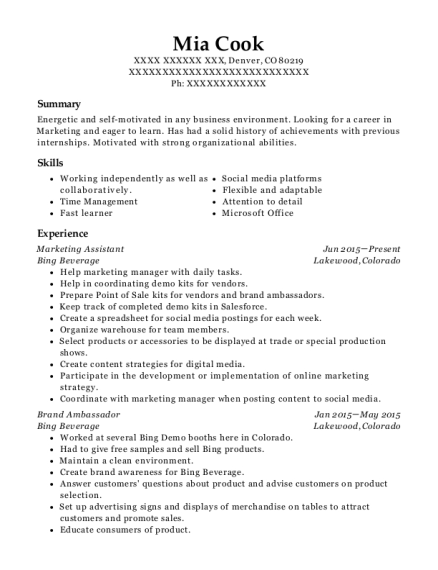 Marketing Assistant resume sample Colorado