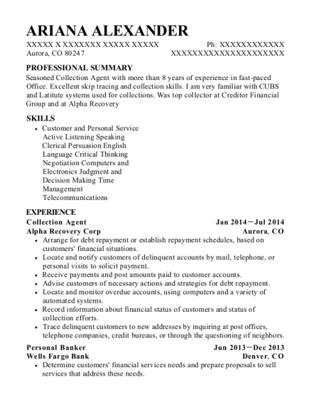 Collection Agent resume template Colorado