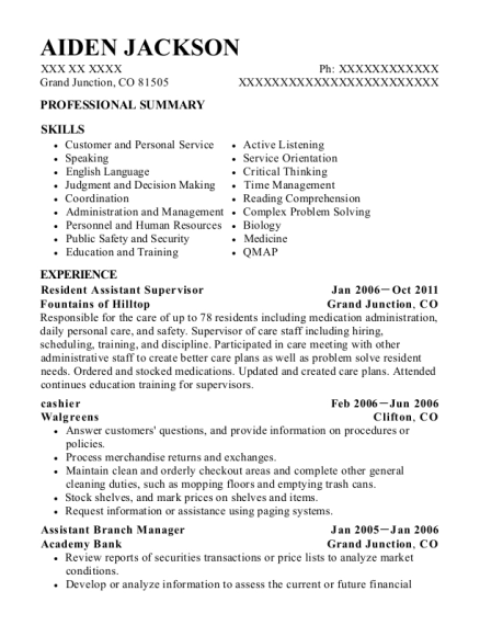 Resident Assistant Supervisor resume example Colorado