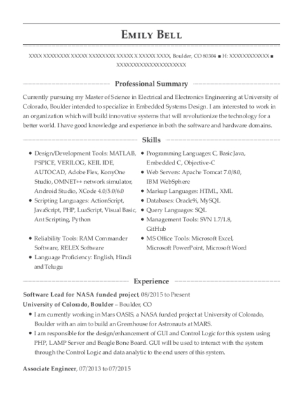 Software Lead for NASA funded project resume example Colorado