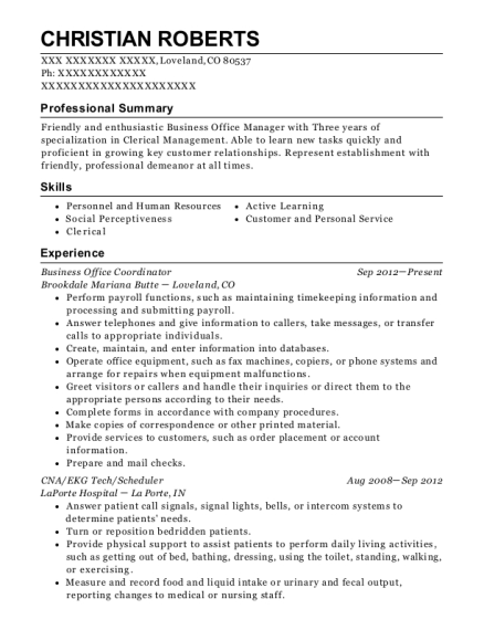 Business Office Coordinator resume format Colorado