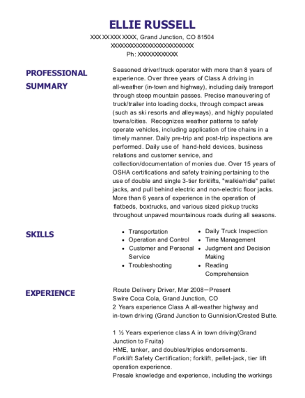Route Delivery Driver resume example Colorado