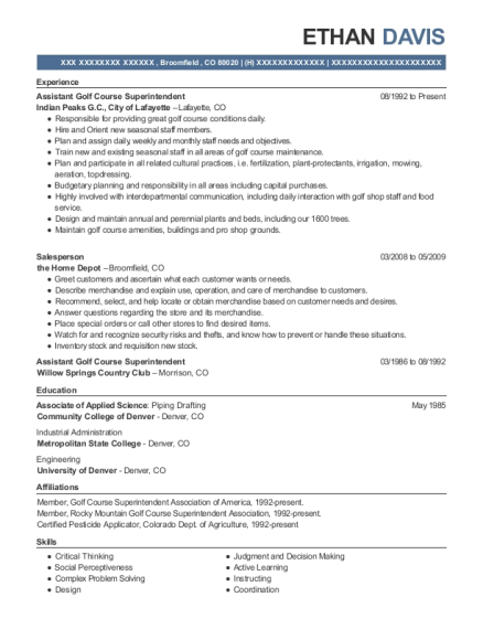 Assistant Golf Course Superintendent resume template Colorado