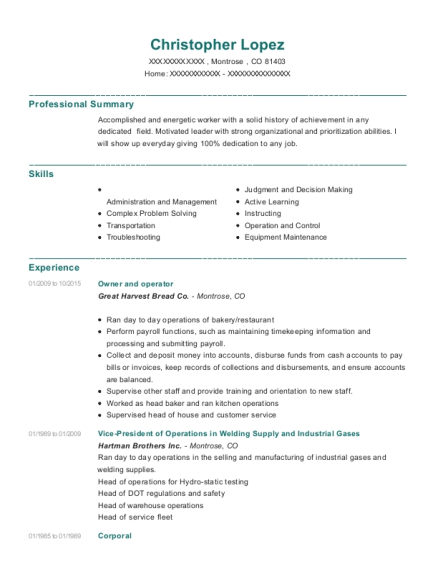 Owner and operator resume example Colorado