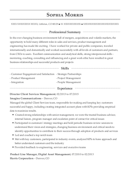 Director Client Services Management resume example Colorado