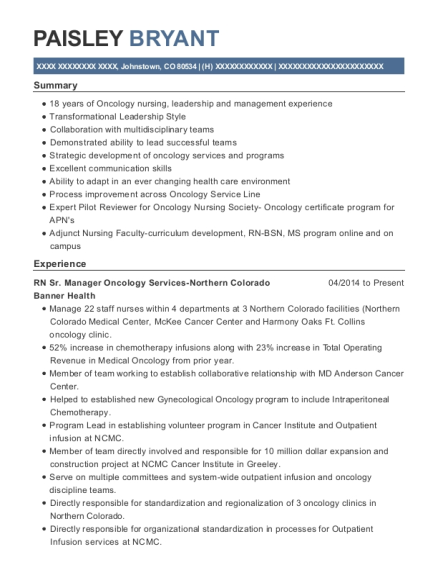 RN Sr Manager Oncology Services Northern Colorado resume format Colorado