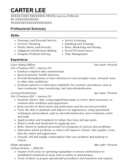 Laser Safety Officer resume example Colorado