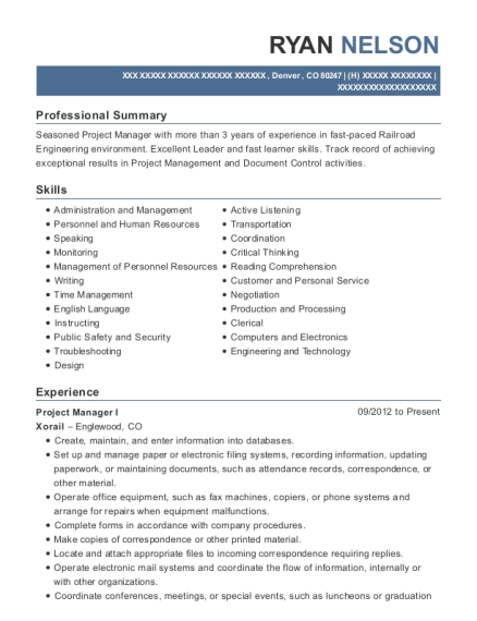 Project Manager I resume example Colorado
