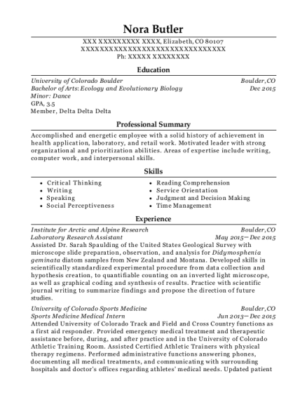 Laboratory Research Assistant resume template Colorado