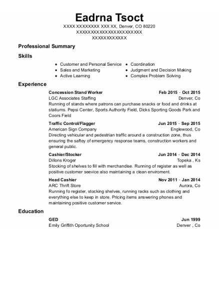 Concession Stand Worker resume template Colorado