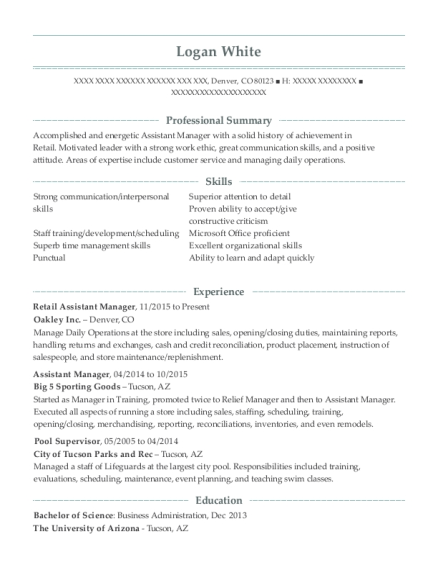 Retail Assistant Manager resume sample Colorado