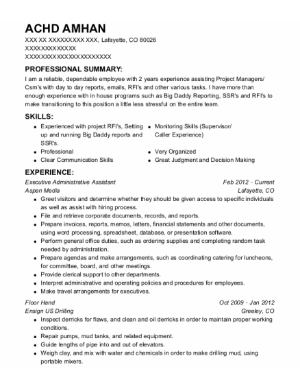 Executive Administrative Assistant resume example Colorado