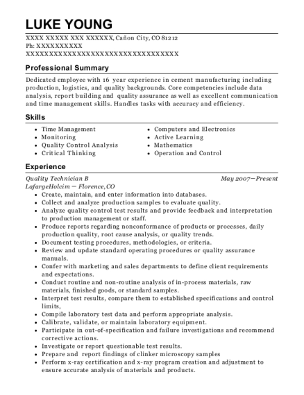 Quality Technician B resume template Colorado