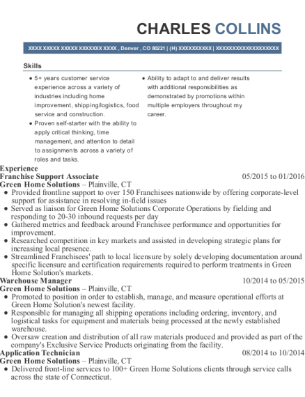 Franchise Support Associate resume example Colorado