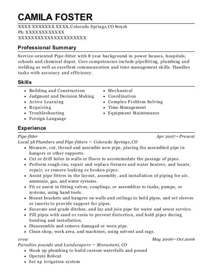 Pipe fitter resume example Colorado