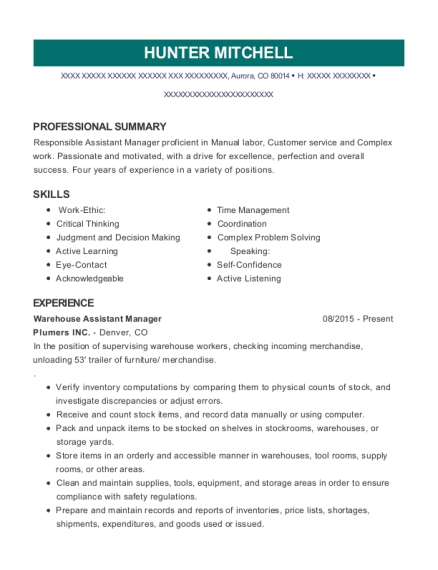 Warehouse Assistant Manager resume template Colorado