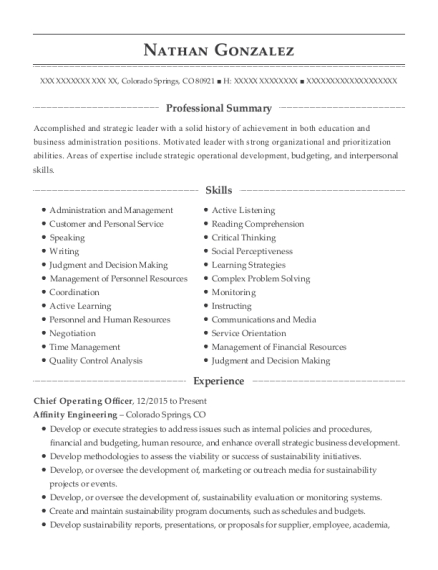 Chief Operating Officer resume format Colorado