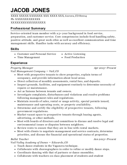 Property Manager resume format Colorado