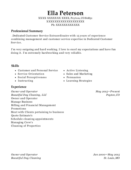 Owner and Operator resume sample Colorado