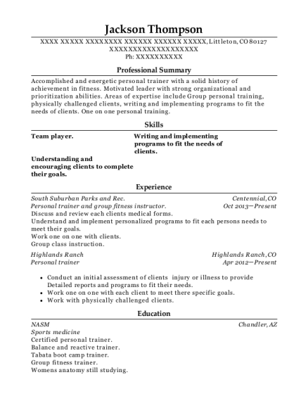 Personal trainer and group fitness instructor resume format Colorado