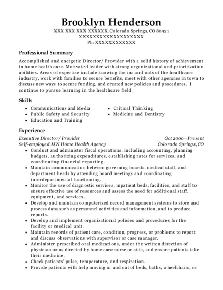 Executive Director resume template Colorado