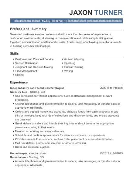 Independantly contracted Cosmetologist resume sample Colorado