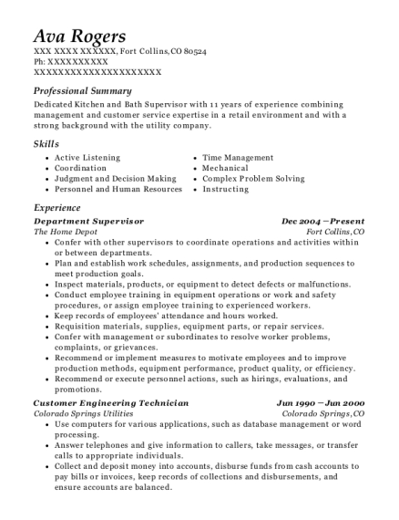 Department Supervisor resume template Colorado