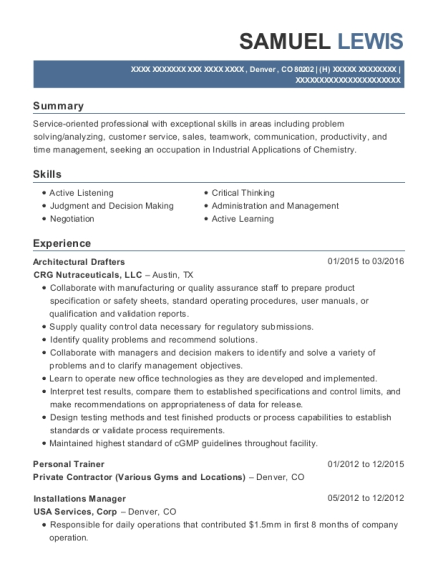 Architectural Drafters resume format Colorado