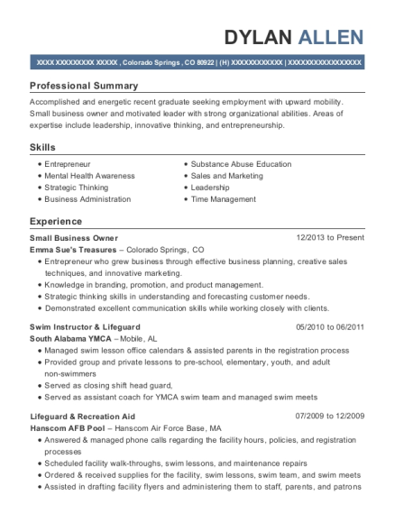 Small Business Owner resume template Colorado