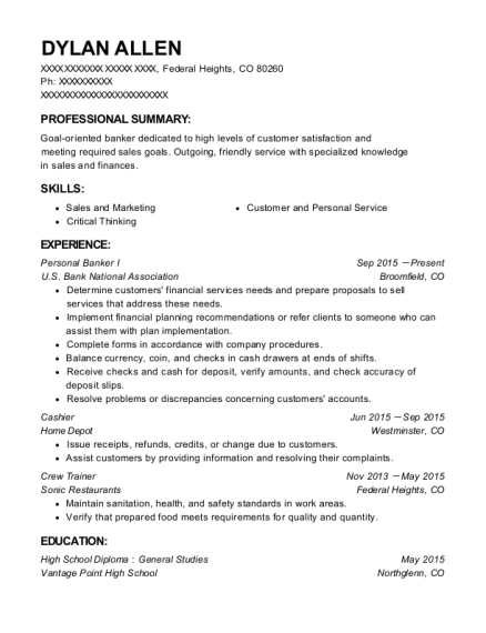 Personal Banker I resume format Colorado