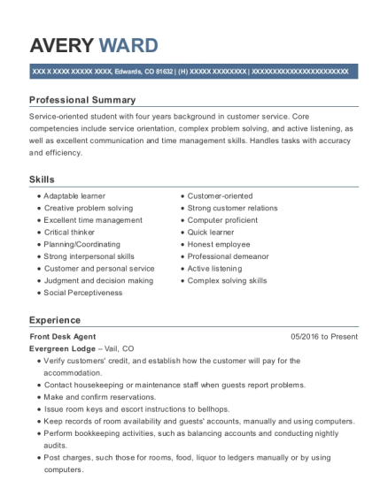 Front Desk Agent resume template Colorado