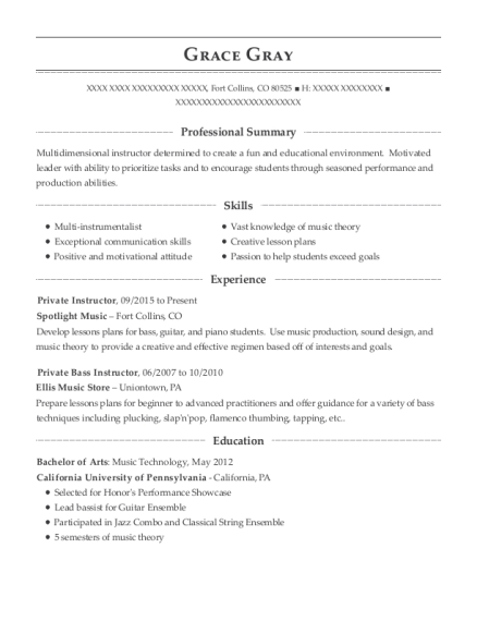 Private Instructor resume example Colorado