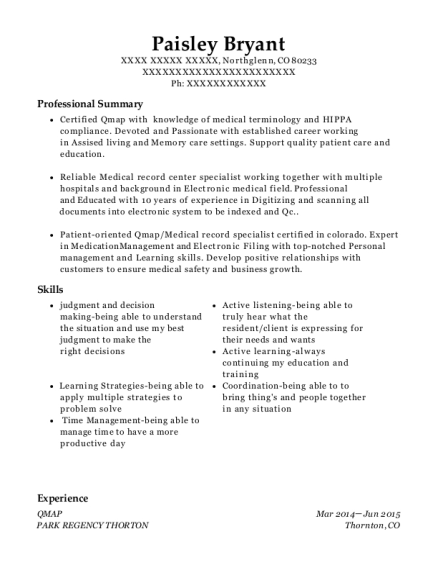 QMAP resume example Colorado