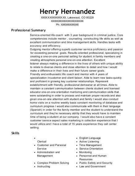 Life Coach resume format Colorado