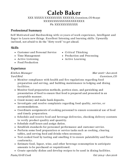 Kitchen Manager resume example Colorado