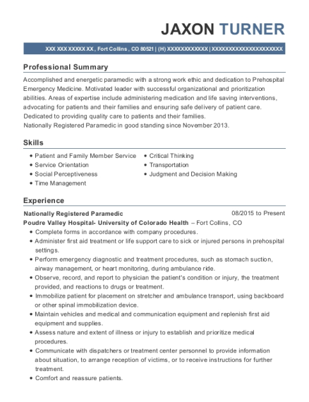 Nationally Registered Paramedic resume format Colorado