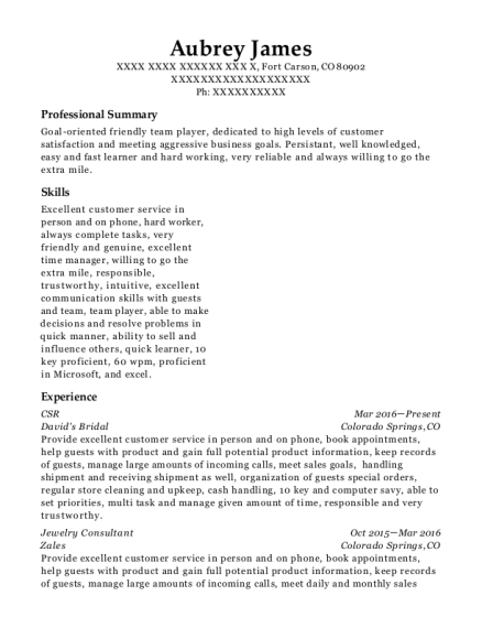 CSR resume template Colorado