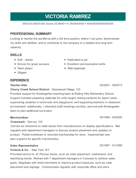 Teacher Aide resume template Colorado