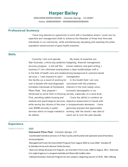 CEO resume template Colorado
