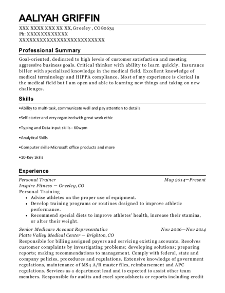 Personal Trainer resume sample Colorado